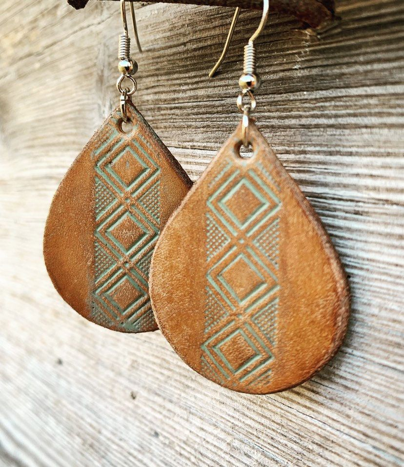 Photo of Hand Tooled Teardrop Shaped Chestnut Brown Leather Earrings