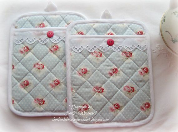 Set of 2 Quilted POT HOLDERS with Rosebuds on Baby Blue and White ...