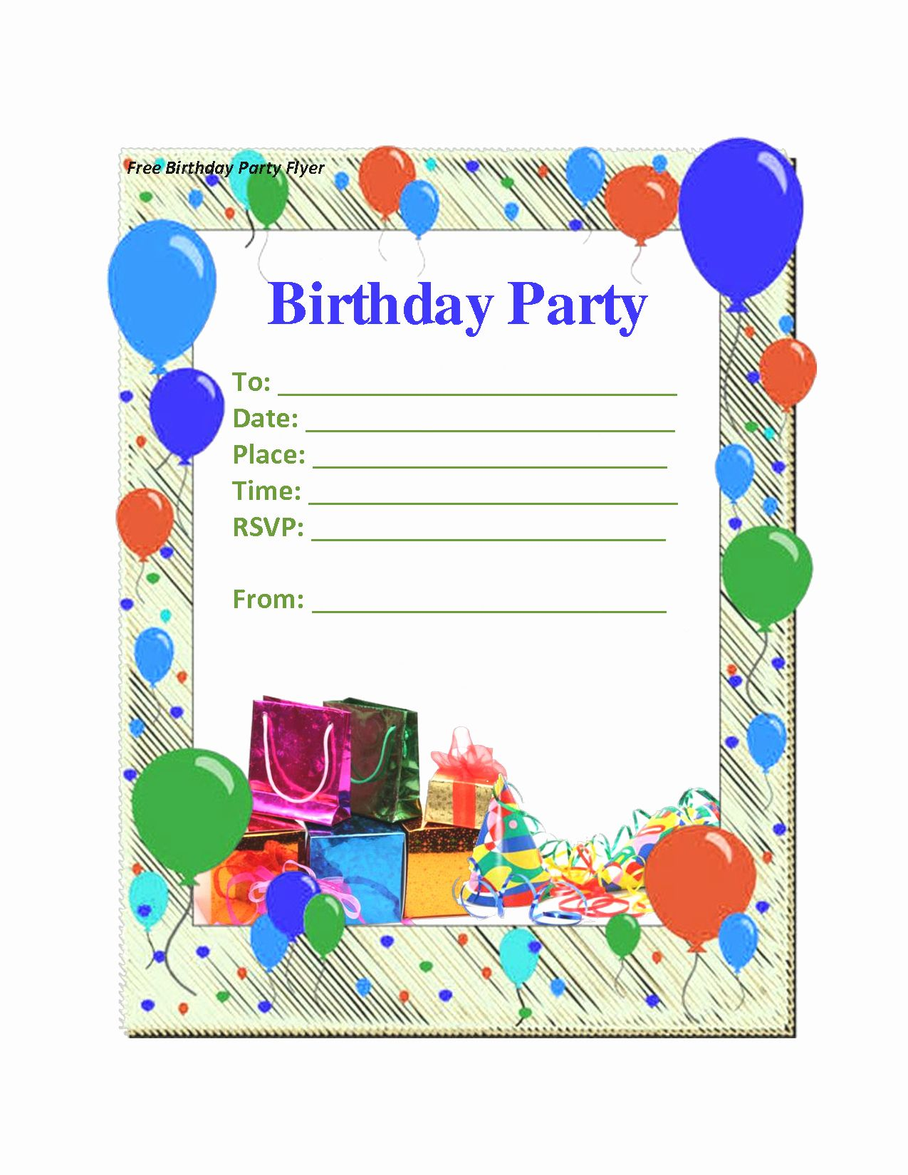 Birthday Party Template Word In 2020 Free Birthday Invitation