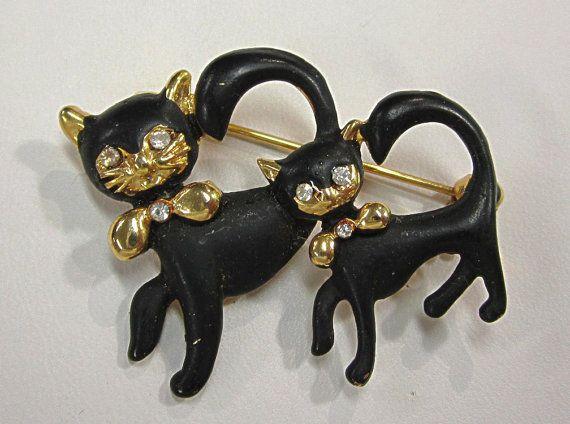 Retro Vintage Black Cat Rhinestone Brooch Pin by COBAYLEY on Etsy, $20.00