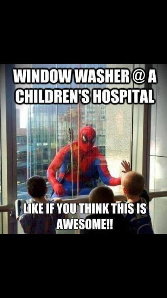 Window washer at a childrens hospital