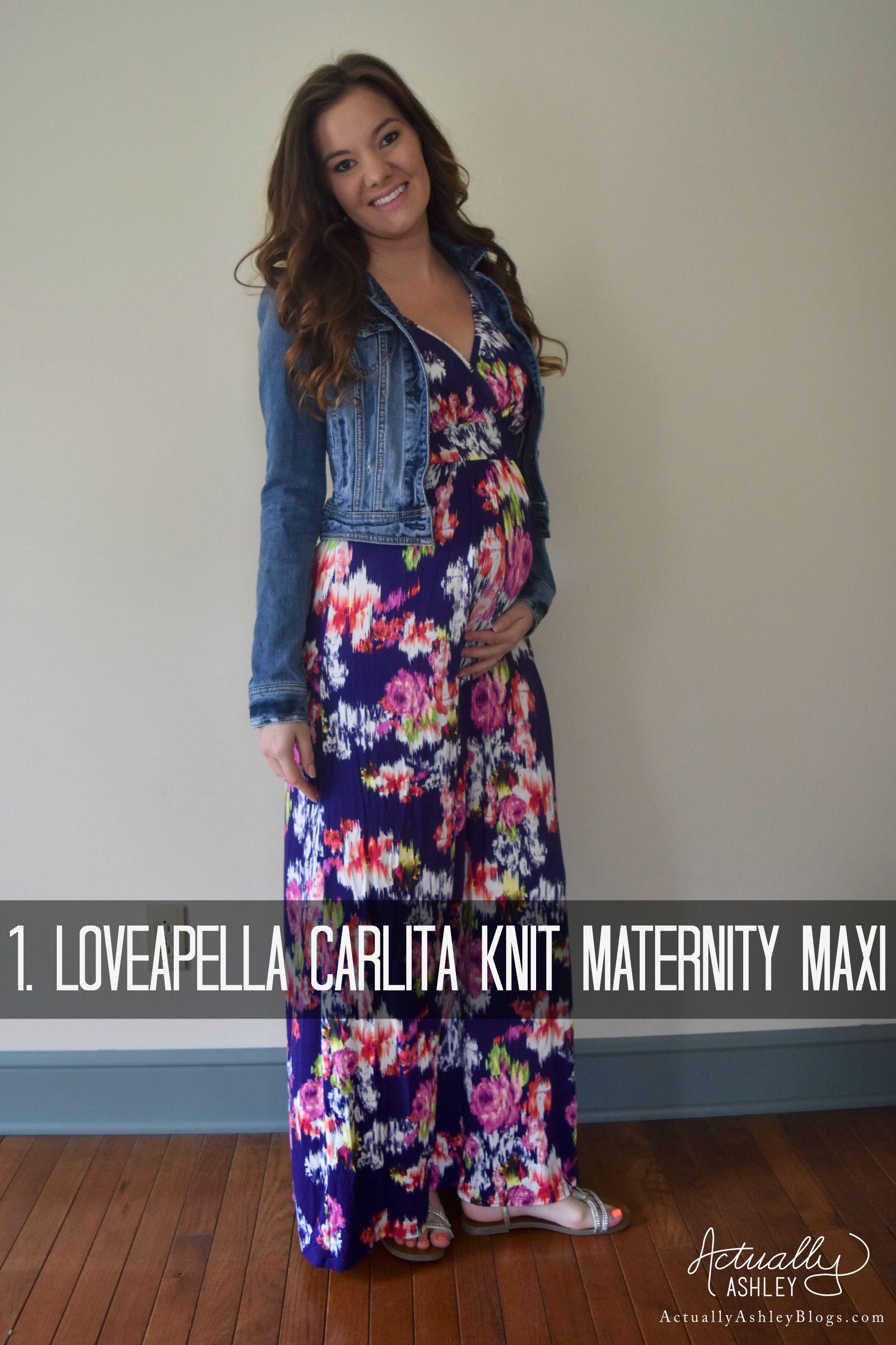 827e03f05 Stitch Fix Lovapella Carlita Knit Maternity Maxi Dress- Purple floral with  jean jacket Getting My Fix- Stitch Fix Review 11 - Actually Ashley