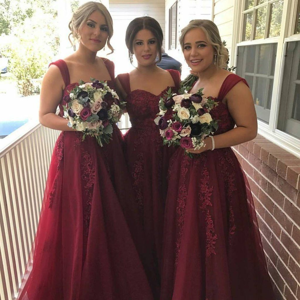 Maroon strap long aline lace tulle bridesmaid dresses bg