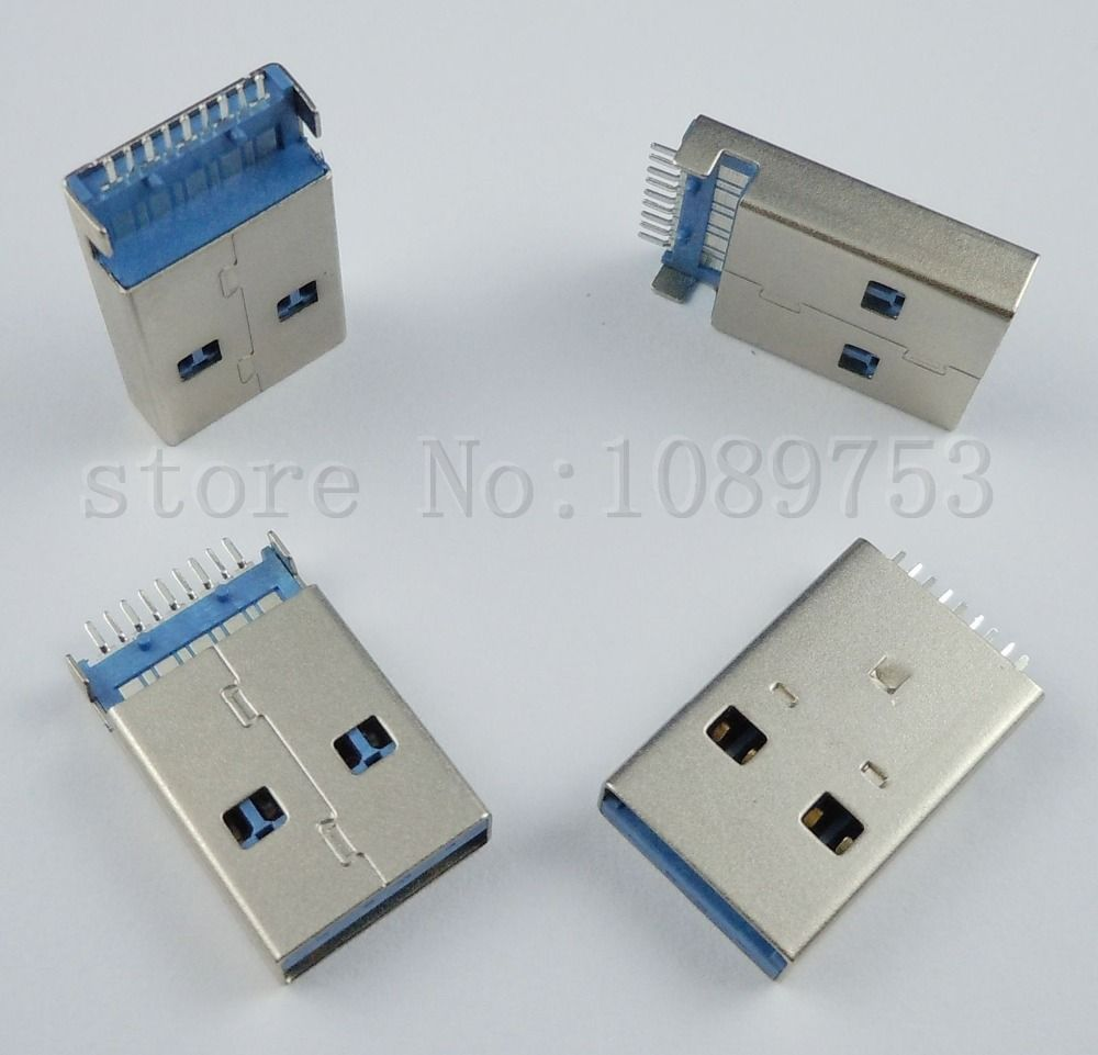 100pcs Usb 3 0 Type A 9 Pin Male Panel Mount Dip Usb Connector Usb Electronic Products Electrical Equipment