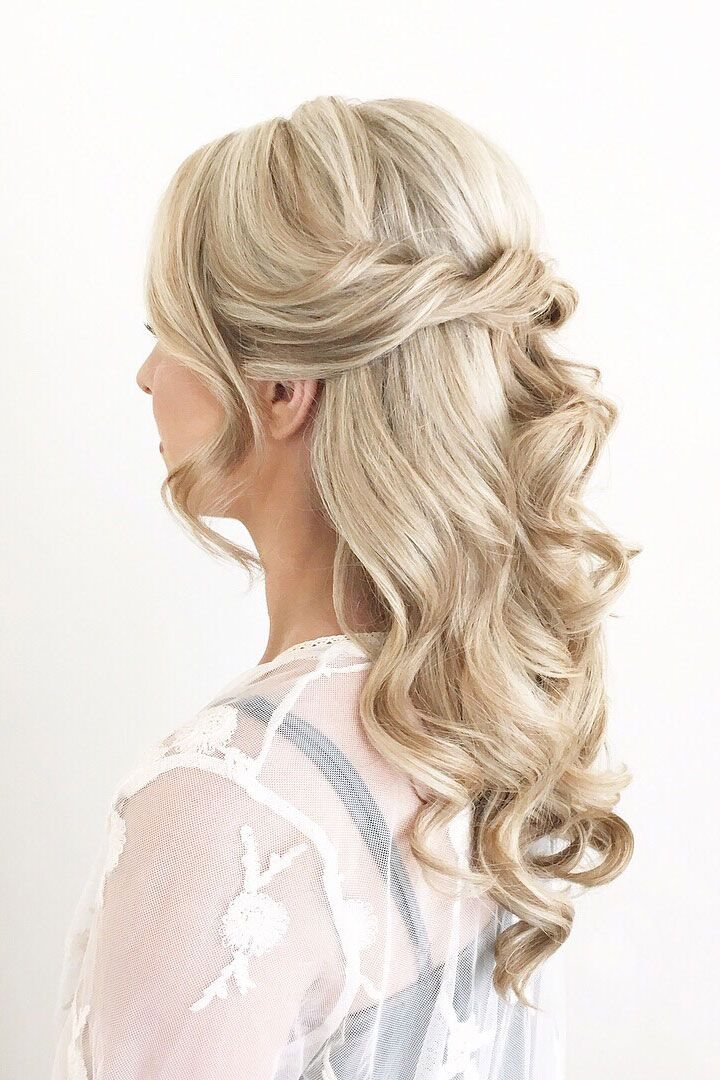twisted half up half down hairstyle, half up half down wedding hairstyle perfect for bride and bridesmaids