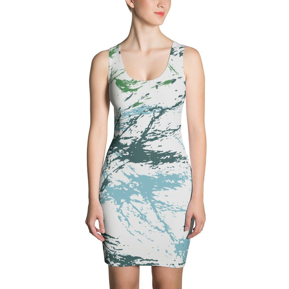 04d6ec11410 Abstract Military Blue Green CAMO Sublimation Cut   Sew Dress. Women s ...