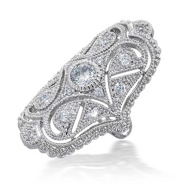 Bling Jewelry Black White Vintage Style CZ Armor Ring Rhodium Plated 2HbtVeVzzZ