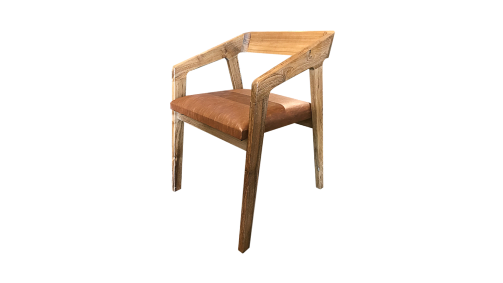 Elegance Chair With Leather Seat Made From 100 Premium Grade Solid Teak Wood 52cm X 48cm X 76cm Seat Height 46cm Price Includ Leather Seat Chair Seating