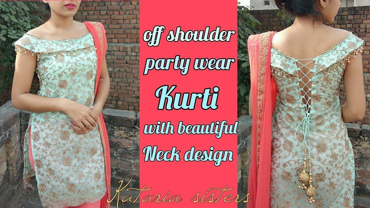 Stylish off shoulder kurti with back design indiafashion fashion