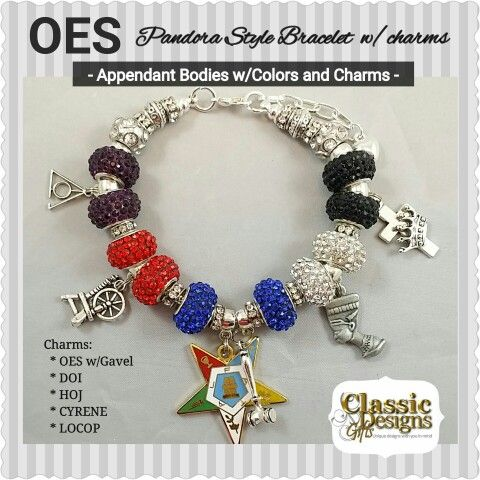 The Order Of Eastern Star Oes Pandora Style Bracelets W Charms And Colors