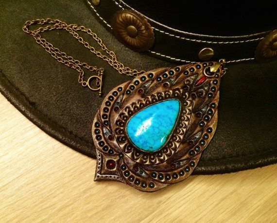 Tooled leather turquoise pendant by Gemsplusleather - 49.94$   #tooledleather #leathercraft #leather #turquoise #pendant #bronze #handmade #carved #iridescent #blue #fantasy #LARP #Western #Gemsforall #gemstones #Gemsplusleather #art #artisan #rustic #boho #tribal #chain #handcarved #countrygirl #countrywestern