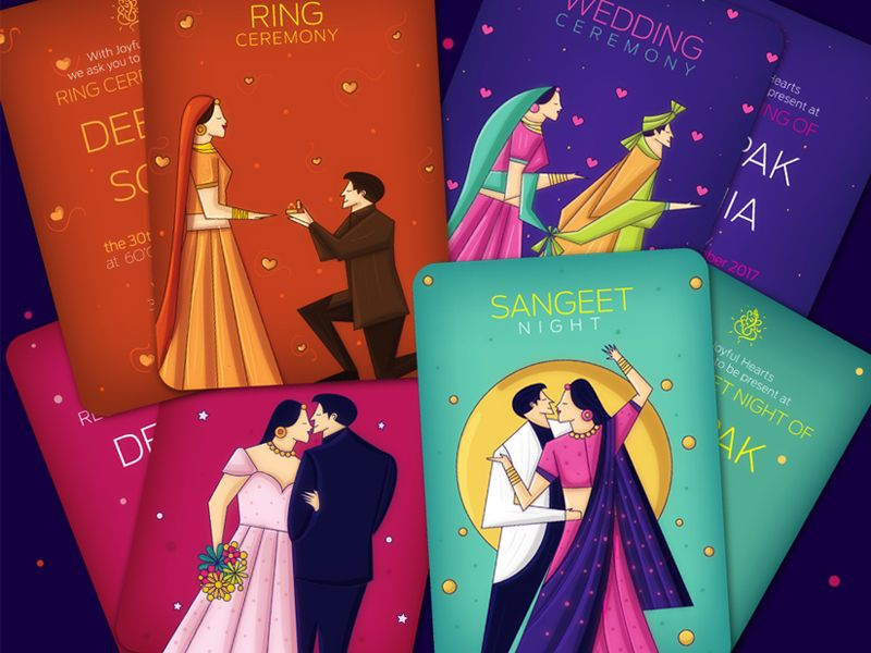 Contemporary indian wedding invite package indian