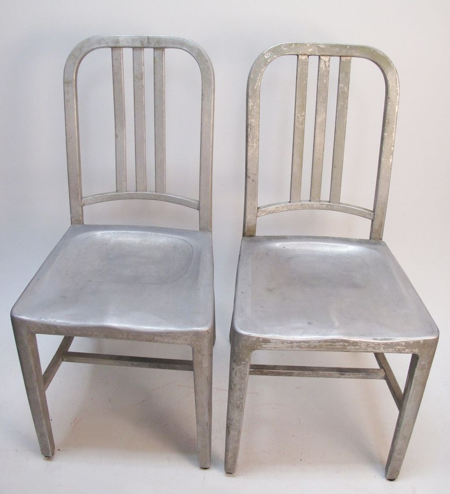 Vtg ORIGINAL Authentic EMECO ALUMINUM NAVY CHAIRS Pair Single Crossbar 1006