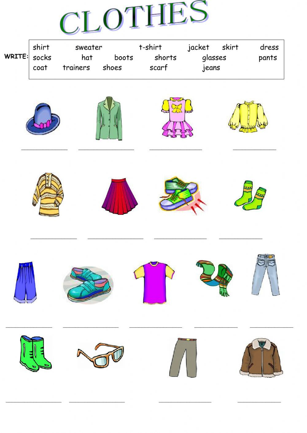 Clothes interactive and downloadable worksheet. Check your answers ...