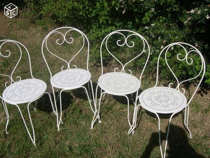 4 Chaises De Jardin Blanc Coton Fer Forge Acier En 2020 Chaise De Jardin Meuble Metal Fer Forge