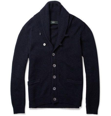 Para él: sueter para usar solo o bajo un blazer. Slowear Zanone Shawl-Collar Wool-Blend Cardigan | MR PORTER