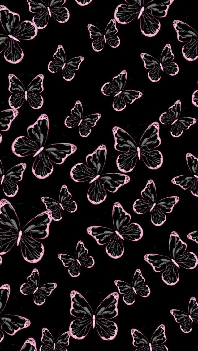 Pink And Black Butterfly Wallpaper With Images Butterfly