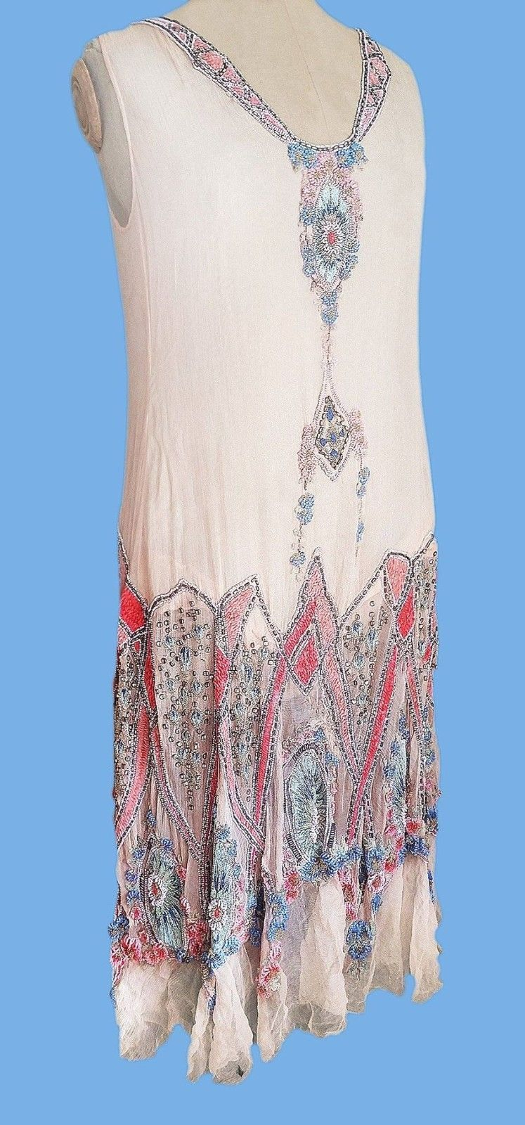 1920's PURE CONFECTION Pastel Beaded and Embroidered Flapper Dress. Back