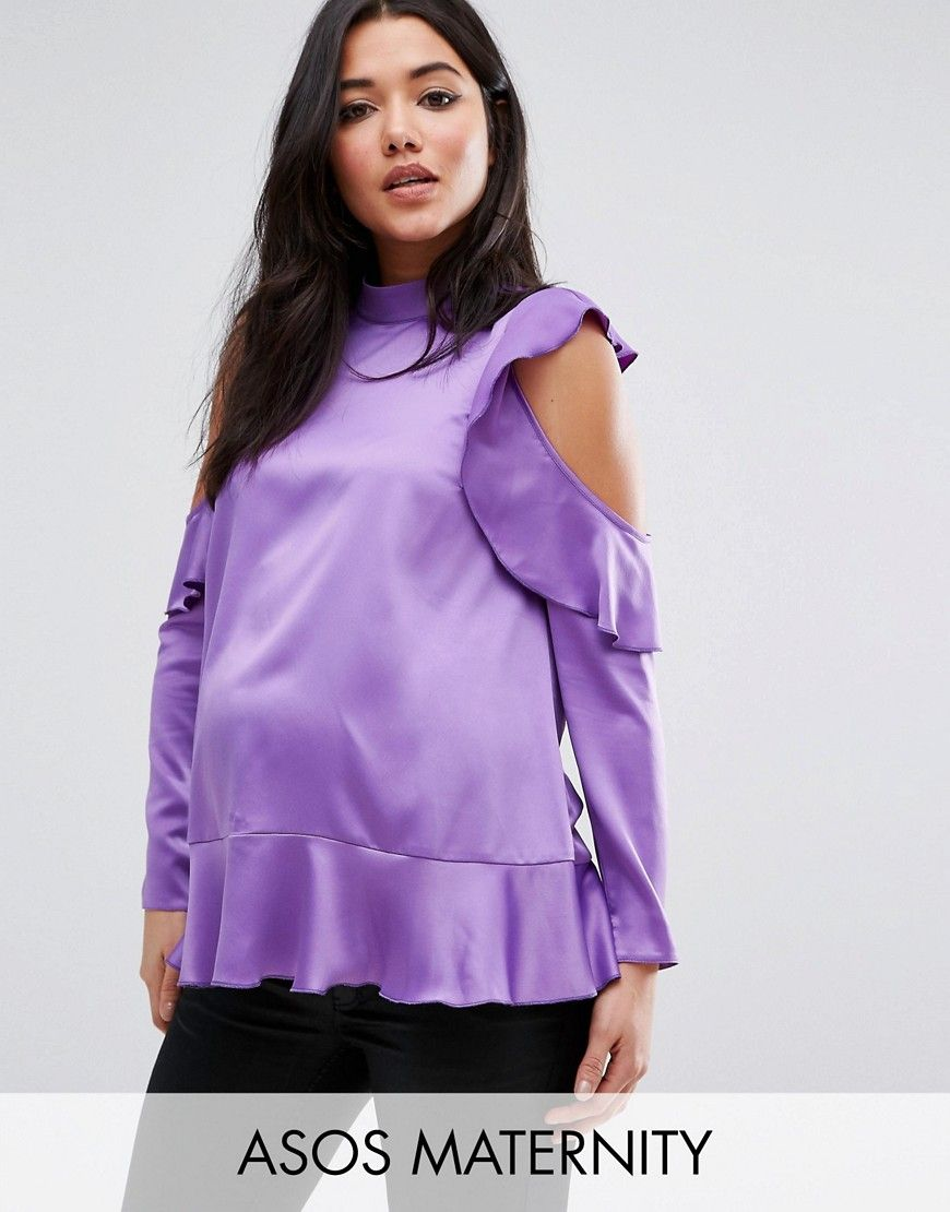 ASOS Maternity Satin Ruffle Top with Cold Shoulder Detail - Purple ...