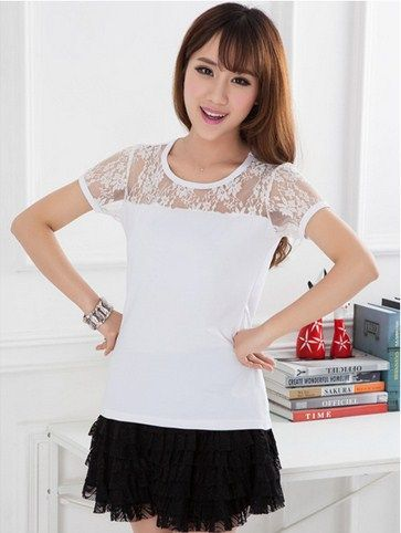 2014 New Summer Lace T Shirt Women S Fashion Korean Style Tops
