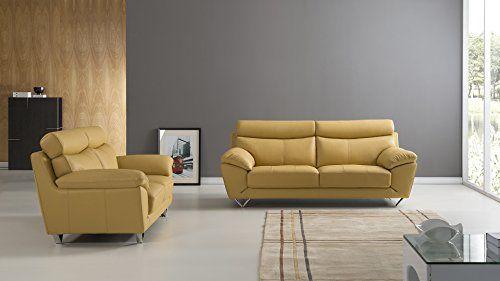 American Eagle Furniture 2 Piece Valencia Collection Complete Italian Grain  Leather Living Room Sofa Set