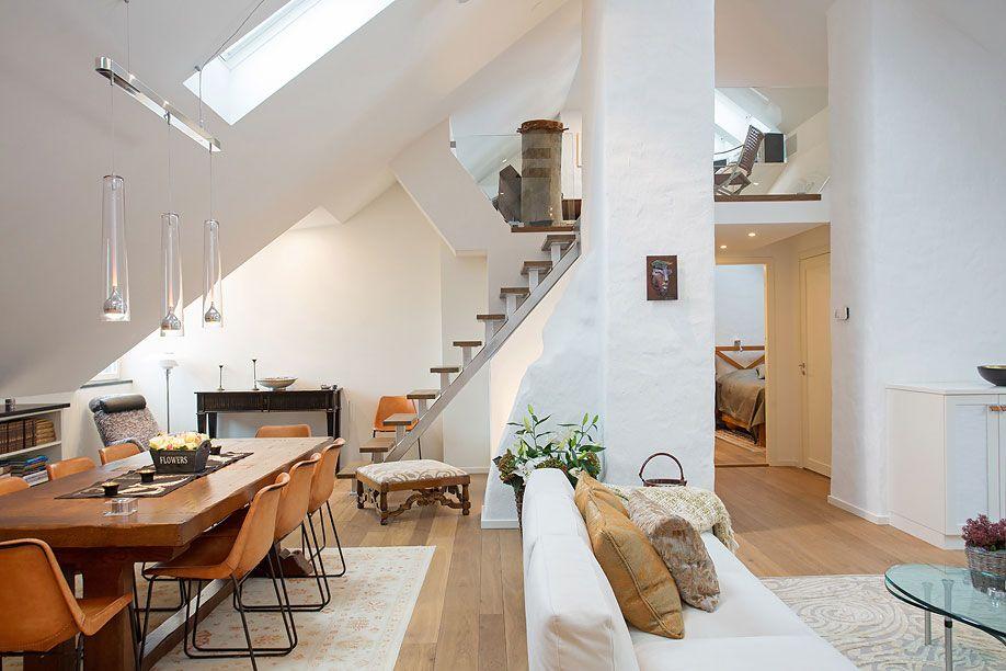 Dining U0026 Living Space, Loft Apartment In Kungsholmen, Stockholm