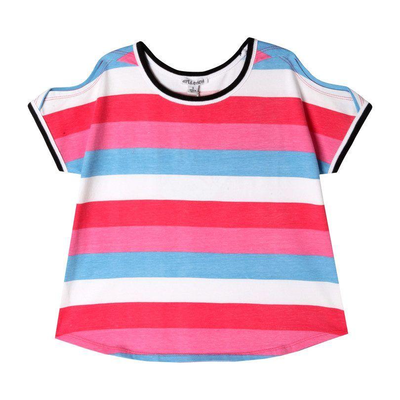 Tara Tee, Bright Stripe - Kids Girl Clothing Tops - Maisonette