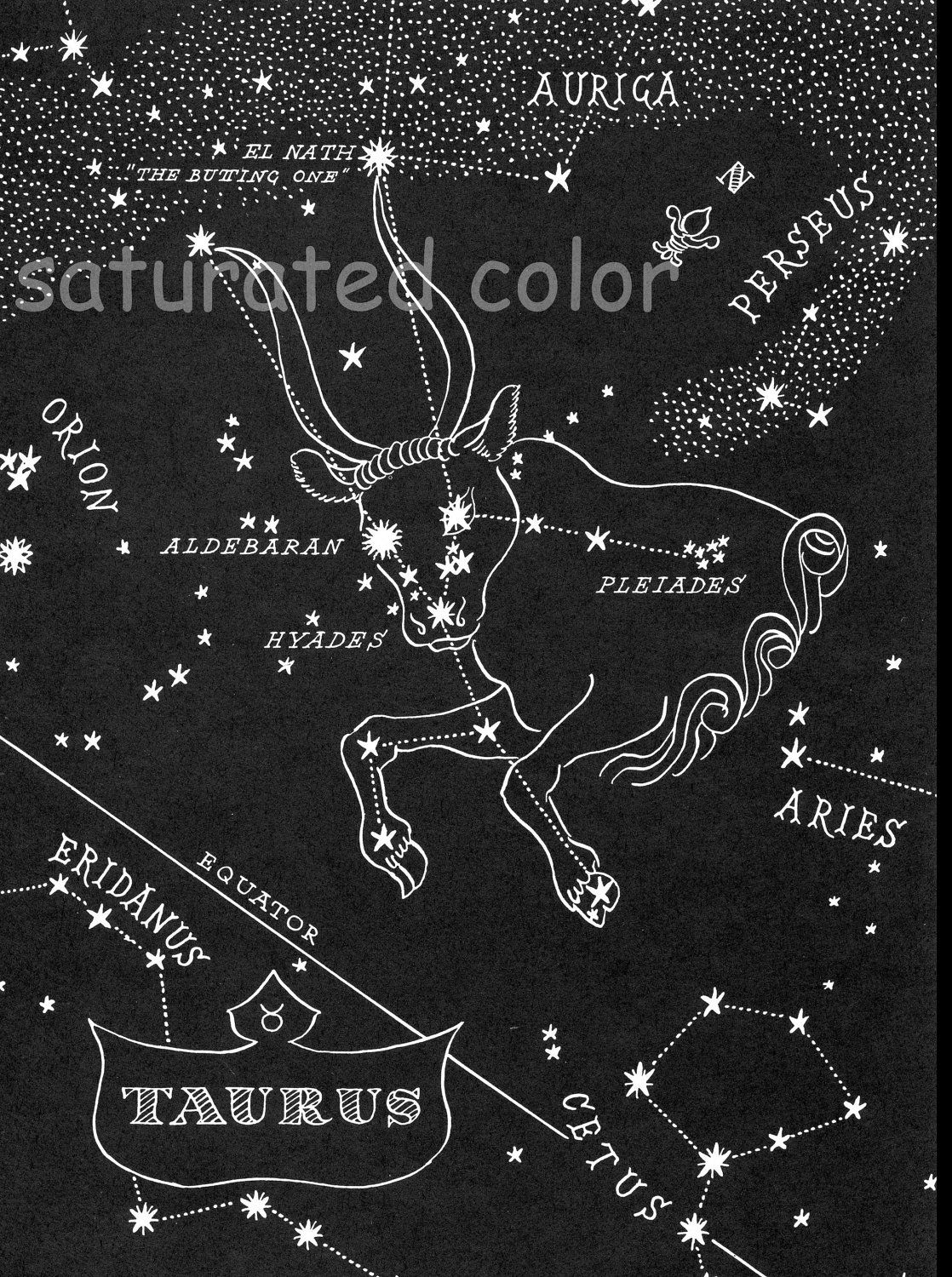 Taurus Night Sky Star Chart Map 1948 Zodiac By SaturatedColor