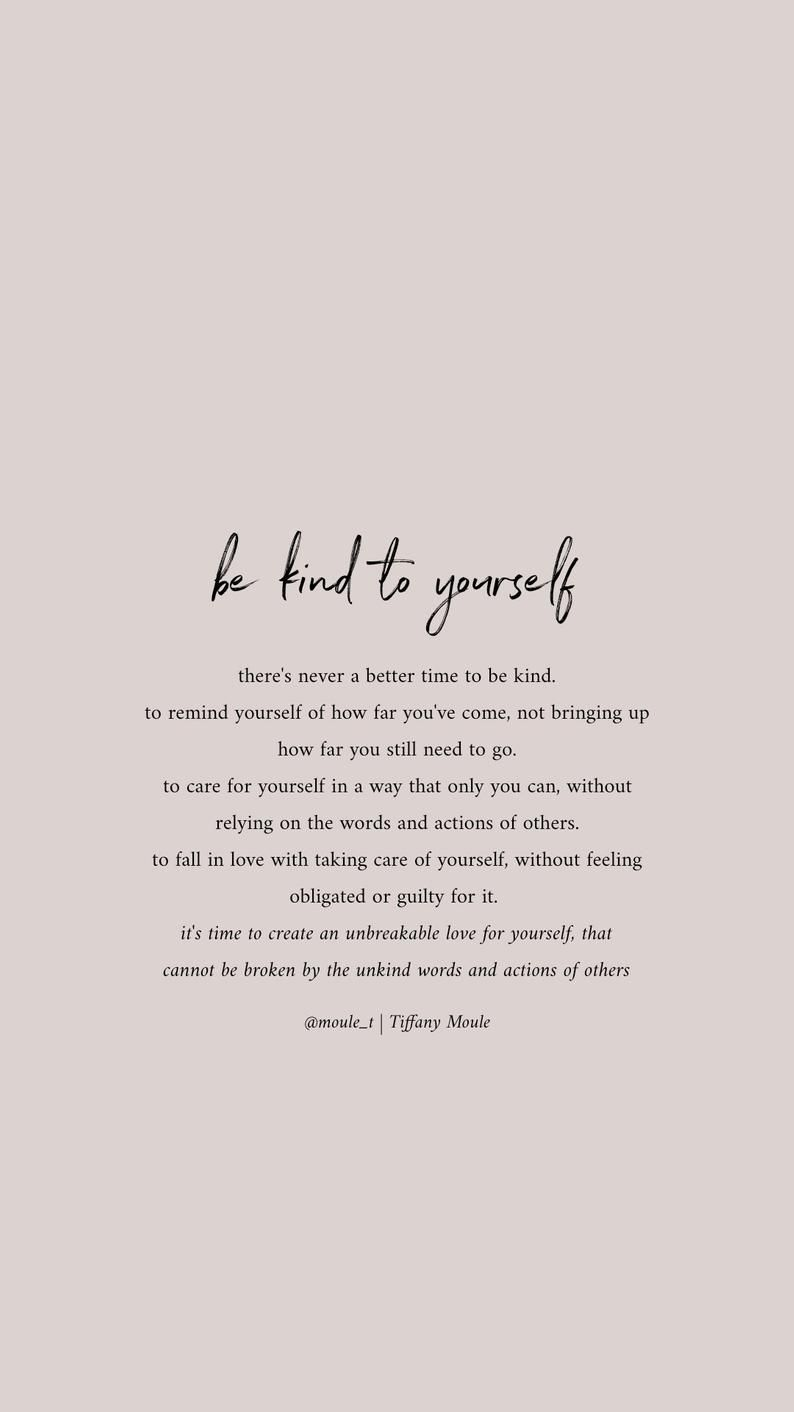Be Kind To yourself PRINT (Digital) Quote by Tiffa