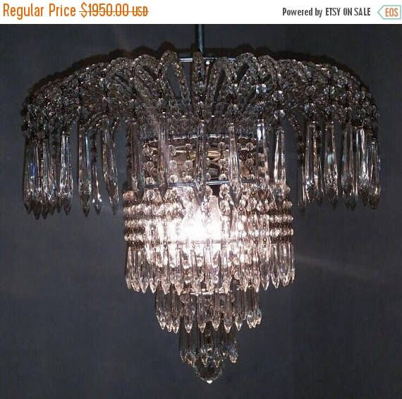 Murano chandelier rare crystal chandelier waterfall vintage murano chandelier rare crystal chandelier waterfall vintage crystal beaded chandelier wiring comp usa free shipping usa mozeypictures Gallery