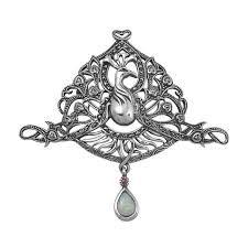 Afbeeldingsresultaat voor Big Art Nouveau sterling oval brooch turquoise birds