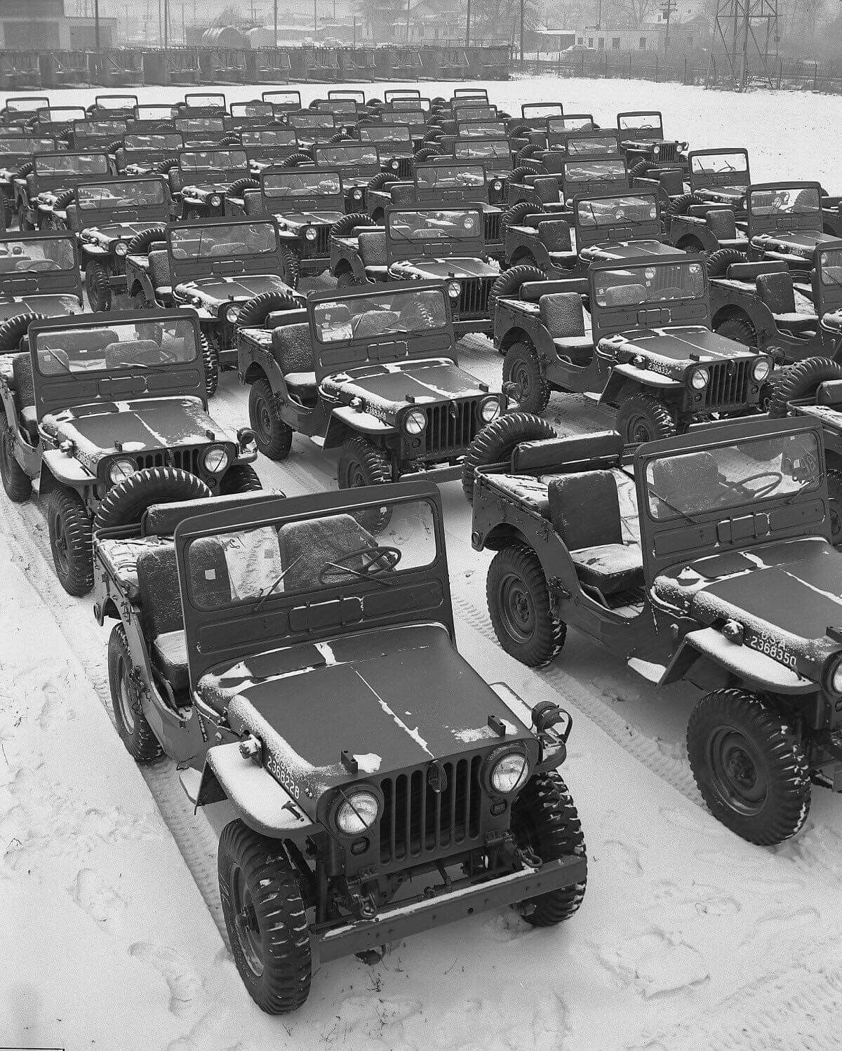 Brand new off the line WW2 Jeeps ready to take part in the war ...