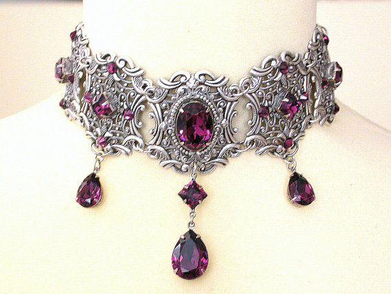 Purple Gothic Choker  Amethyst Swarovski Crystal by LeBoudoirNoir, €140.00