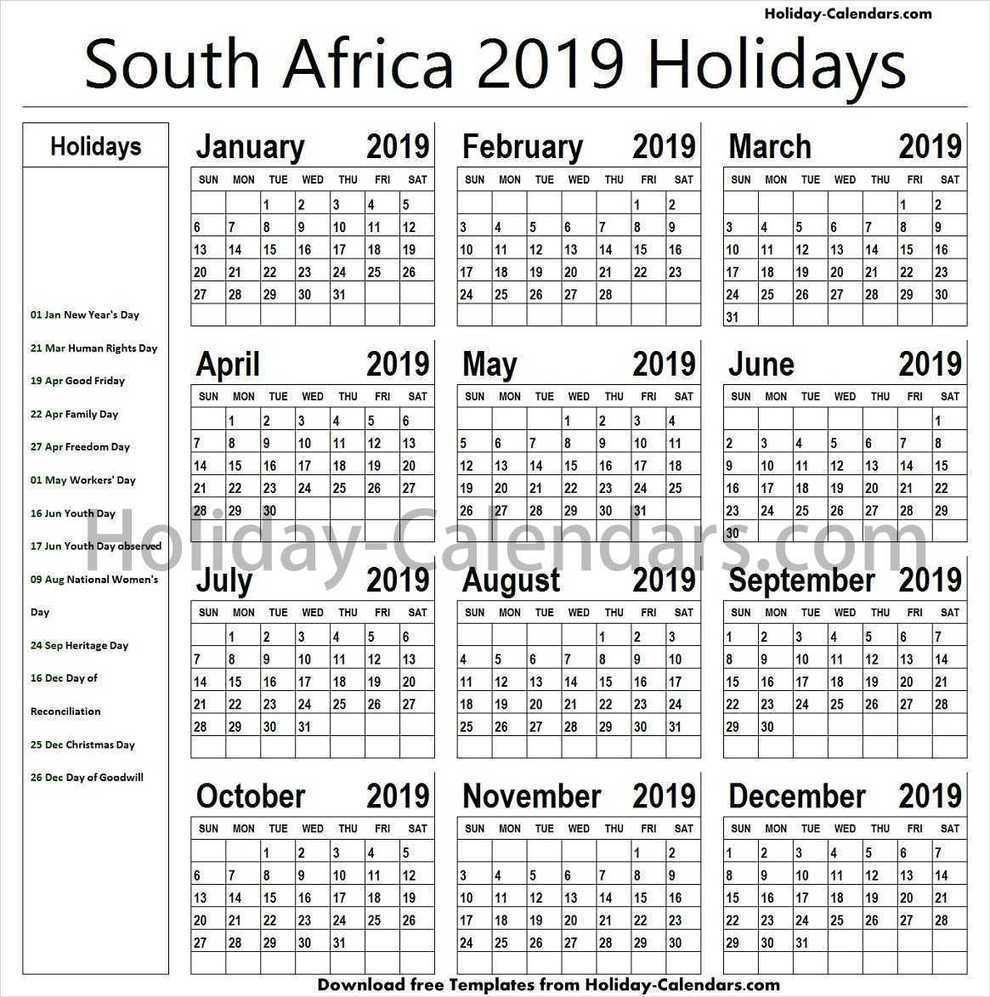 South Africa Holidays 2019 free Images | Holiday calendar ...