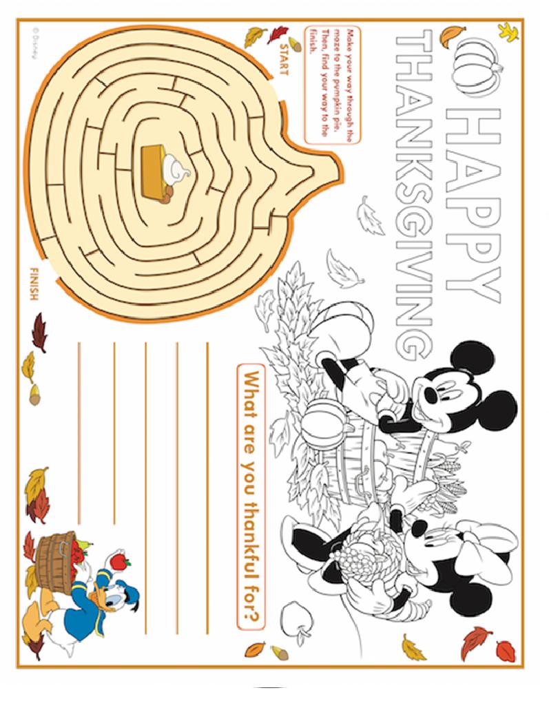 Mickey Mouse Thanksgiving Maze | Childrens crafts, Pumpkin ...