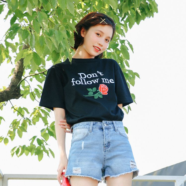 >> Click to Buy << 2017 Summer New Fashion Loose Letter Rose Embroidered All Match Short Sleeve Female T-shirts #Affiliate