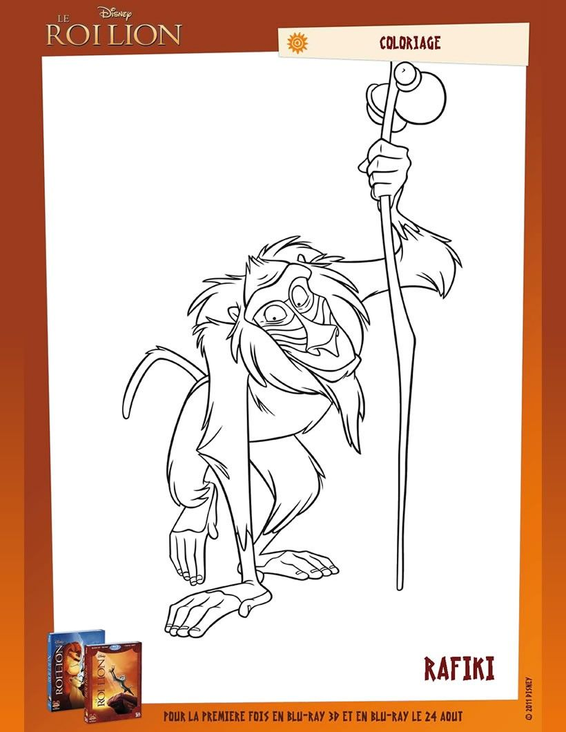 Un joli coloriage sur Le Roi Lion Viens colorier Rafiki de plein de couleurs