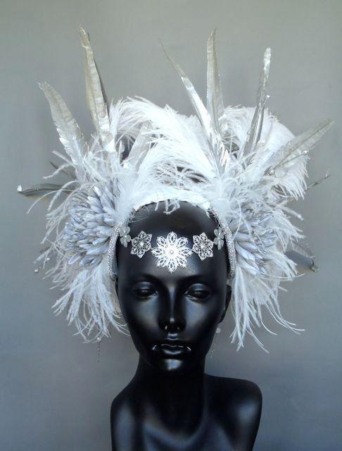 Grey Ostrich Feathers Open Face Headgear Headdress Carnival Fancy