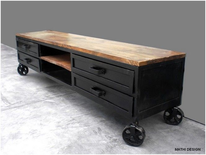 meuble tv industriel meuble pinterest meuble tv meuble tv industriel et meuble. Black Bedroom Furniture Sets. Home Design Ideas