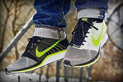 Nike Flyknit Racer White Black and Volt colourway. #sneakers