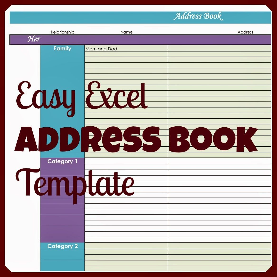 Easy Excel Address Book Template  Super Easy Template And Easy