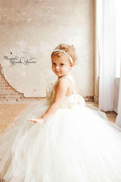 Ivory Couture Flower Girl Tutu Dress by krystalhylton on Etsy
