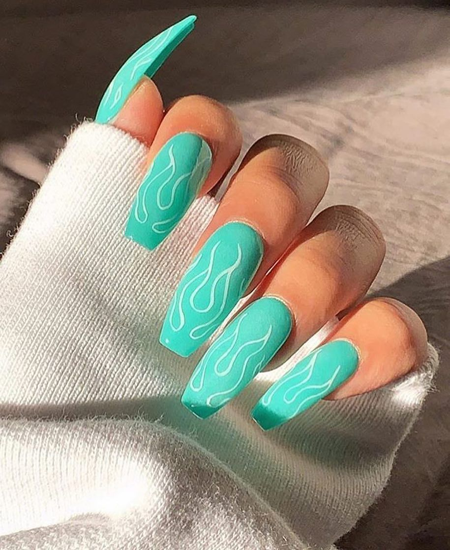 Flame Nails Icynailsx Acrylic Nails Fire Nails Coffin Nails Designs
