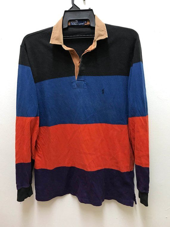 Polo Ralph Lauren Vintage Rare Multi Colour Stripes Hip Hop Polo Rugby Shirt e4b2ac7dc8