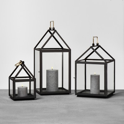 NEW Hearth /& Hand w// Magnolia House Shaped Lantern Candle Holder Black Medium
