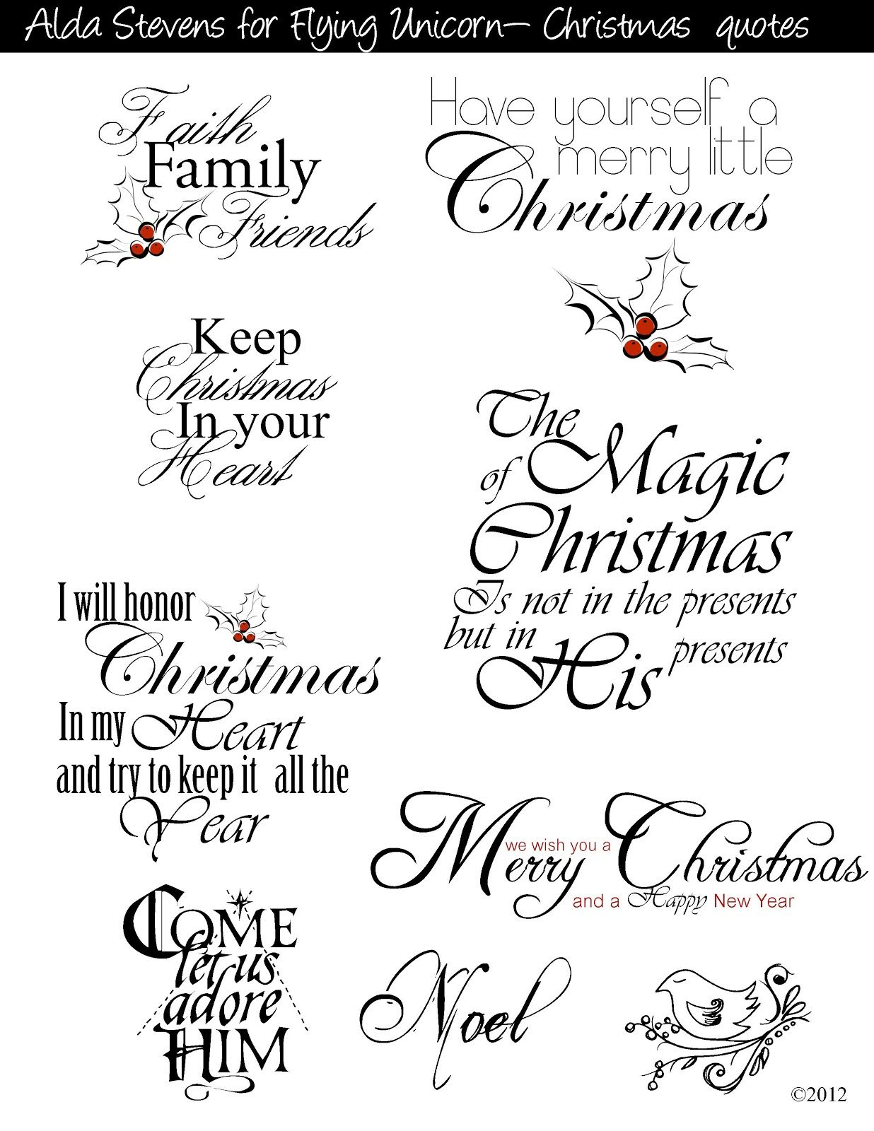 Christian Christmas Card Sayings.For Commercial And Personal Use Digital Freebies