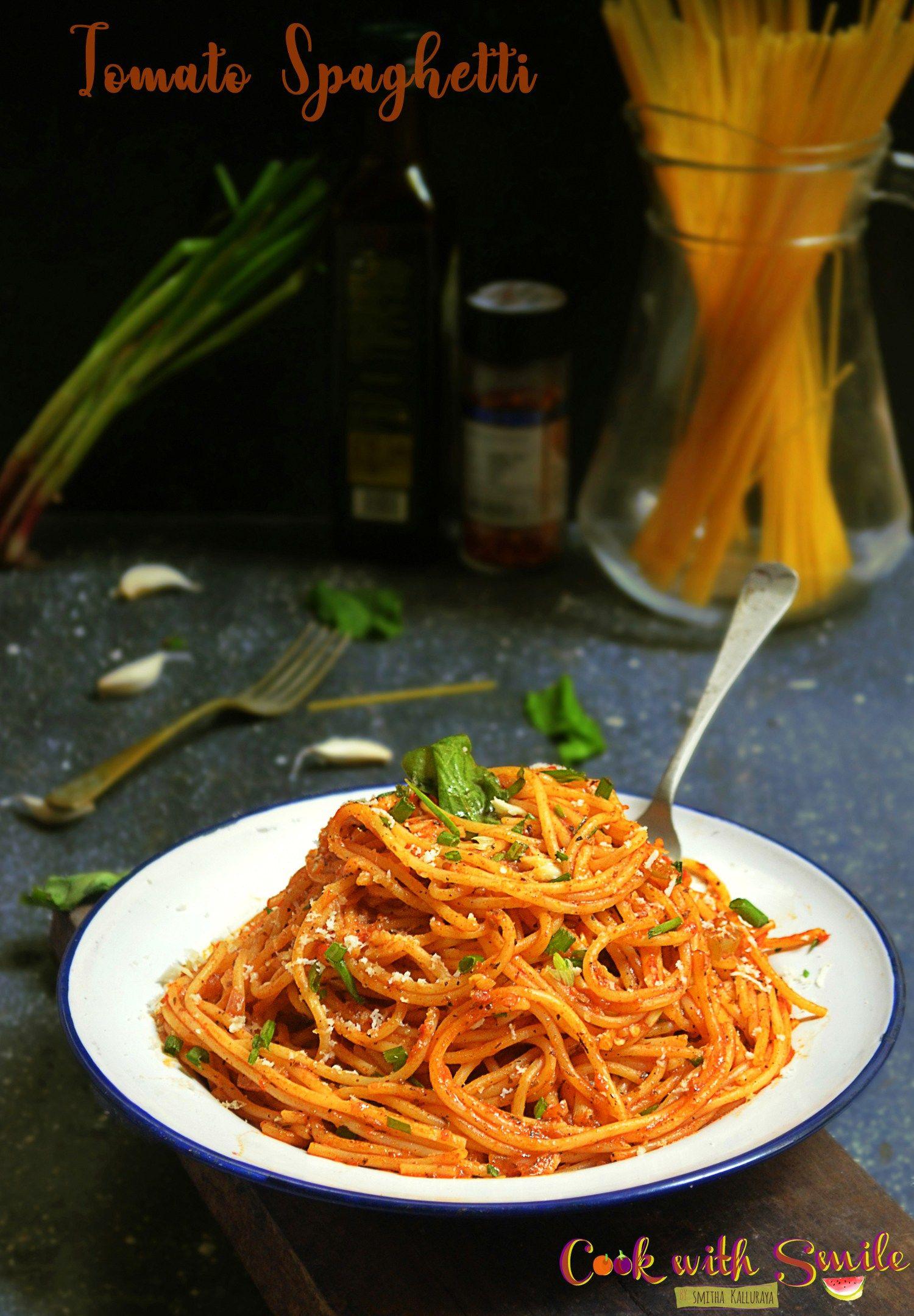 Indian Style Tomato Spaghetti Recipe Indian Vegetarian Spaghetti