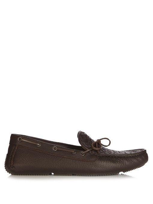 BOTTEGA VENETA Intrecciato Leather Driving Shoes. #bottegaveneta #shoes  #flats. Hand WeavingDriving ShoesFlatsDark BrownBottega VenetaLeatherMenApartments  ...