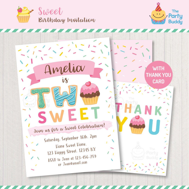 Two Sweet Sprinkle Cupcake Invitation Printable Girls 2nd Etsy Cupcake Invitations Sprinkle Invitations Girl 2nd Birthday