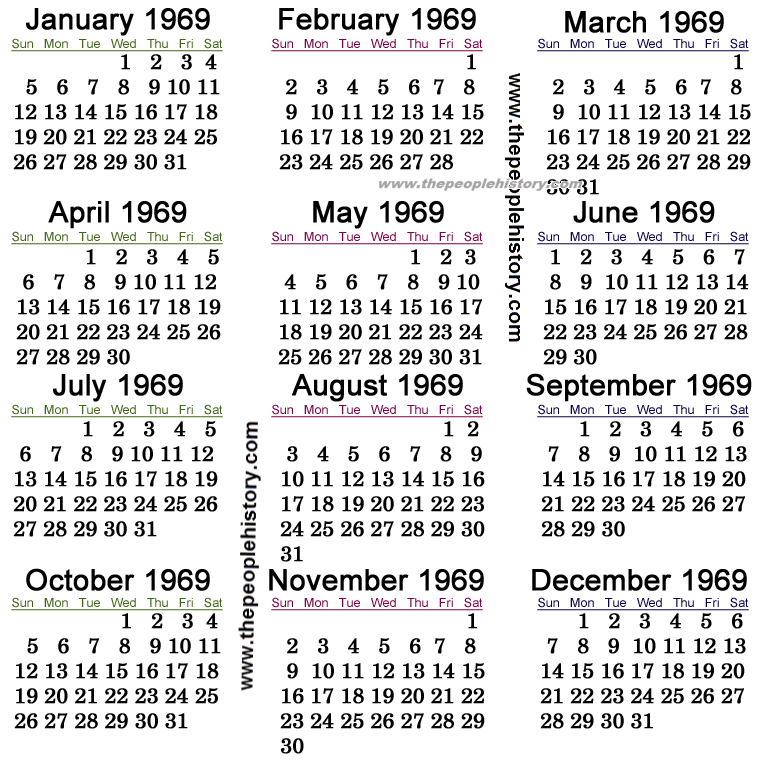 Calendar 1969.1969 Calendar Events All Over The World In 1969 Crafts Yearly